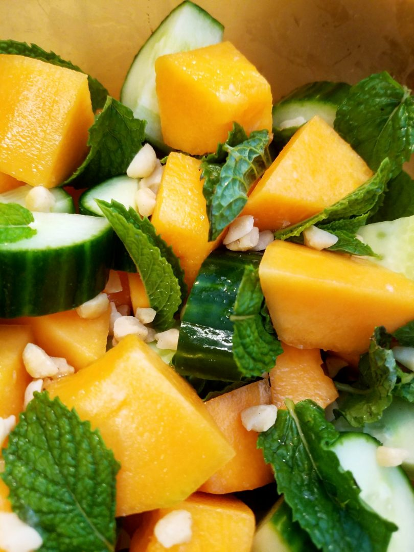 Cucumber and cantaloupe with mint