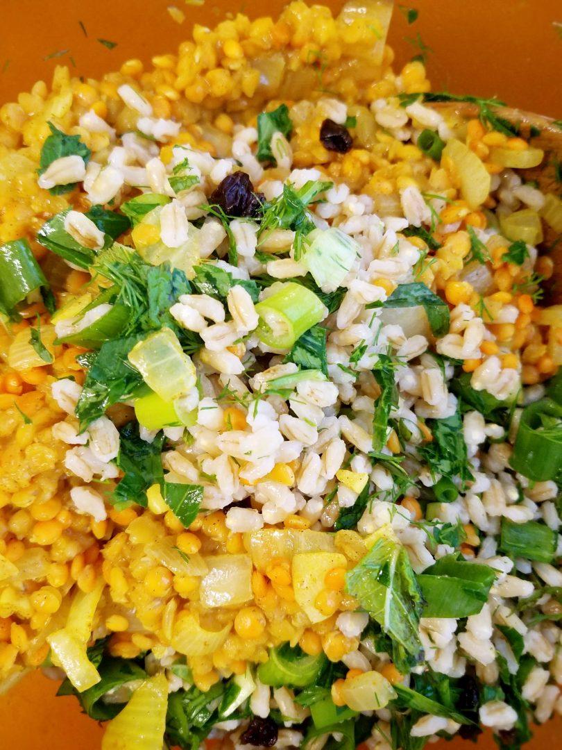Vegan barley dishes