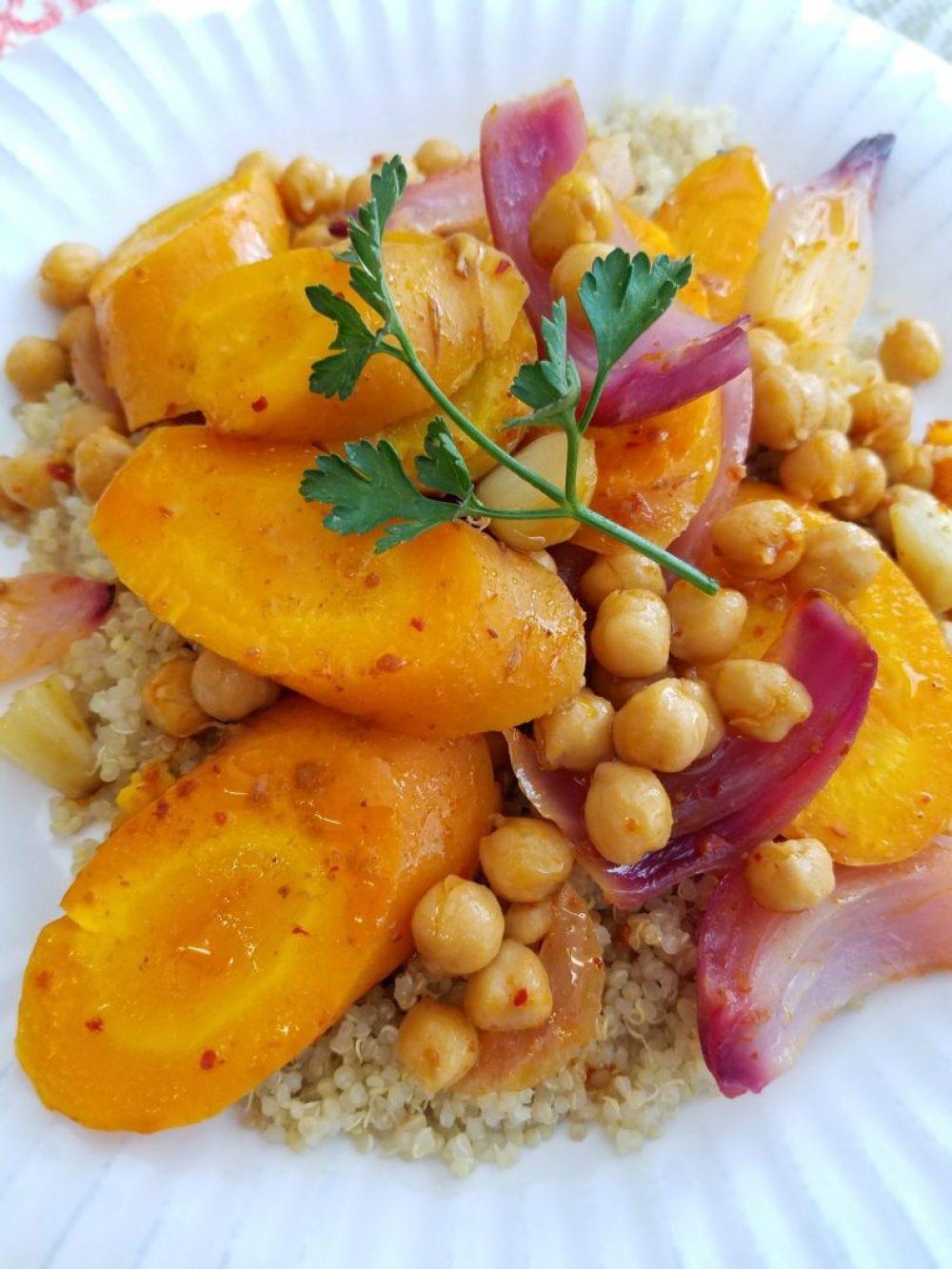Chickpeas harissa carrots recipe