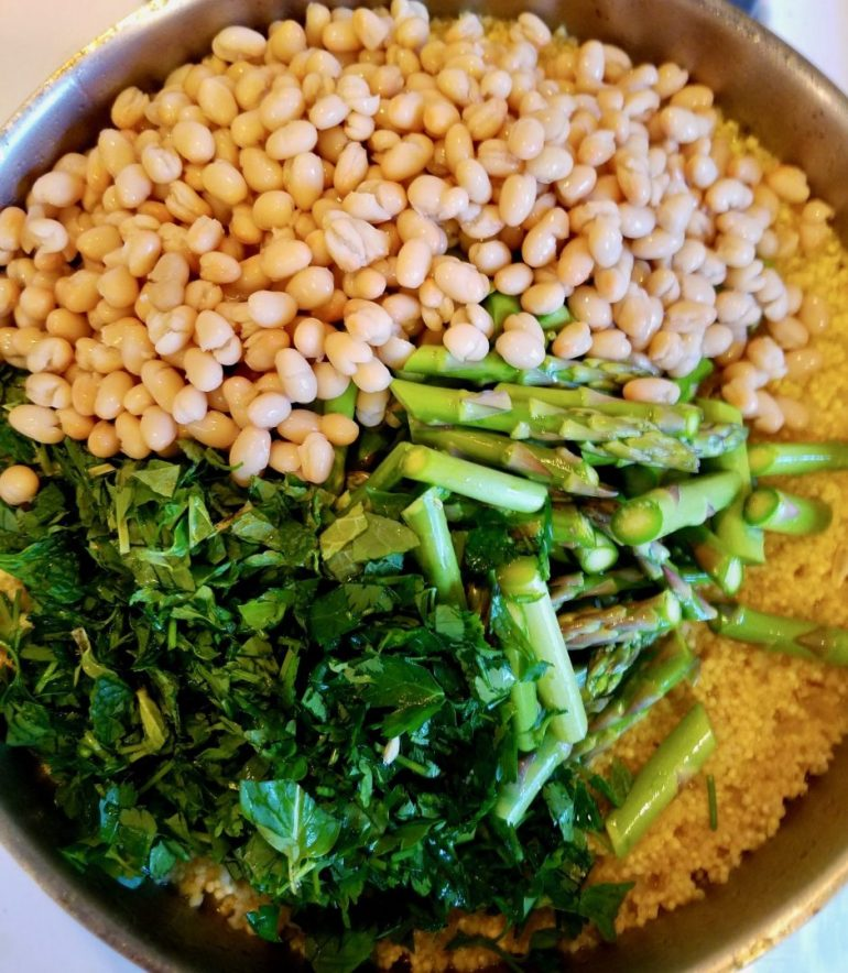 White Beans and Asparagus with Millet
