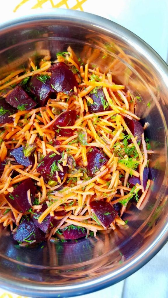 Carrot and Beet Salad with Fresh Dill and Roasted Pistachios