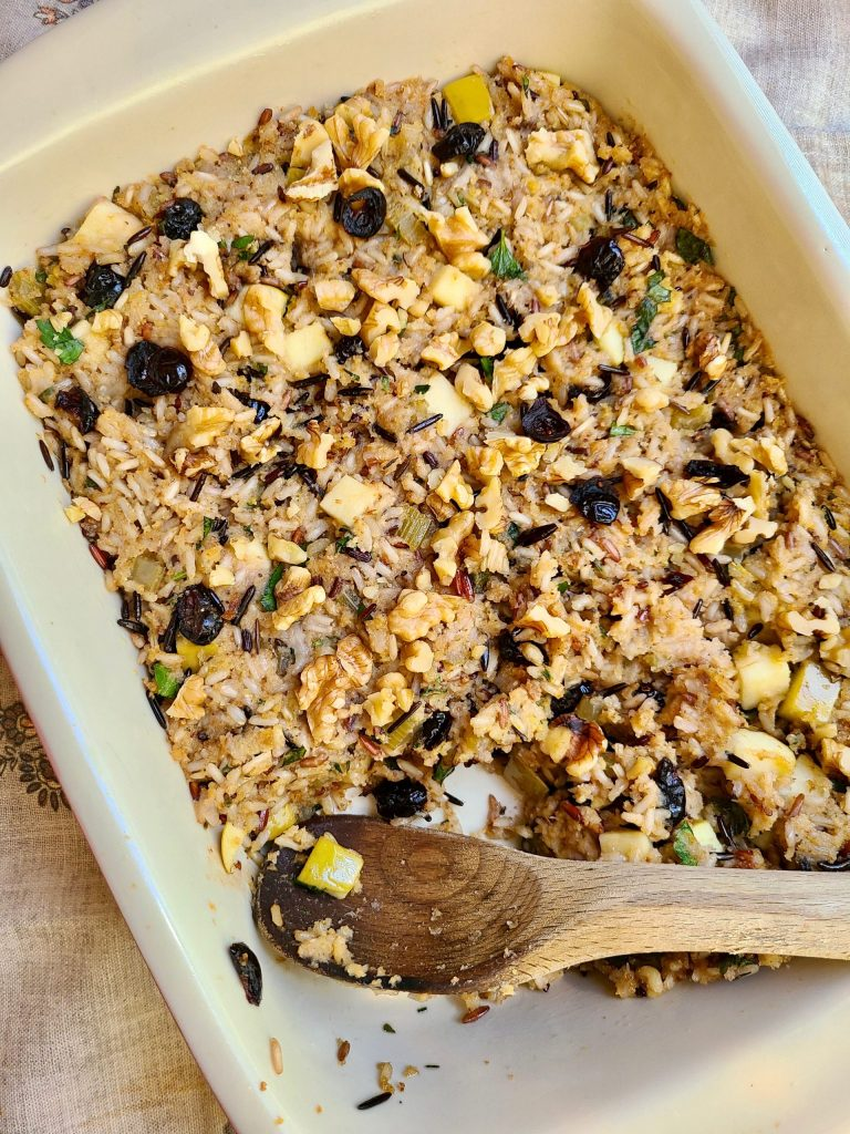 Baked vegan cranberry apple wild rice stuffing