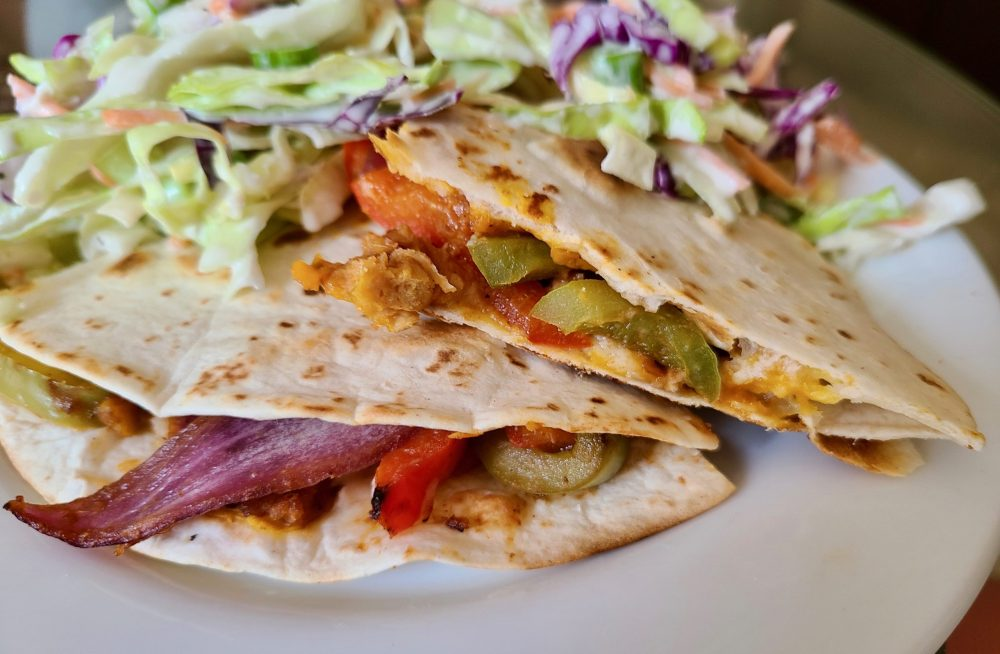 Vegan Grilled Barbecue Soy Curl Quesadillas