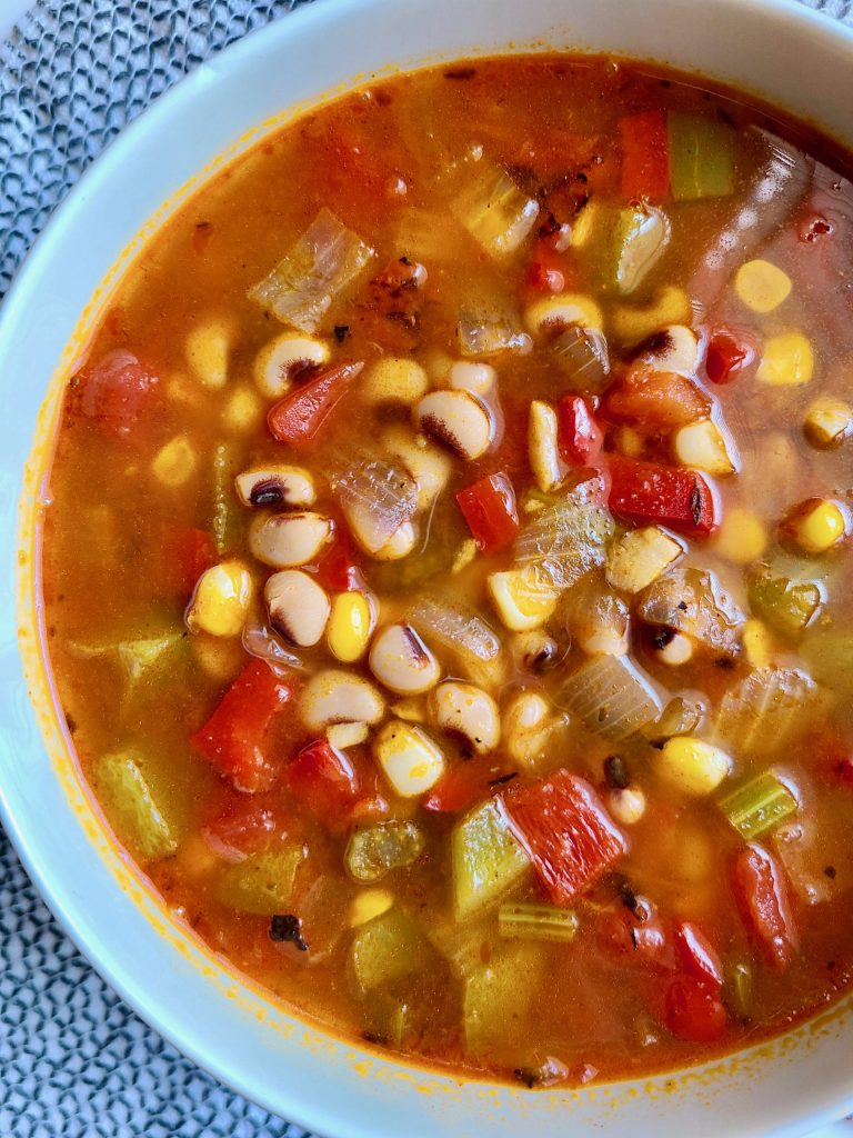 A bowl of Vegan Black-Eyed Pea Soup