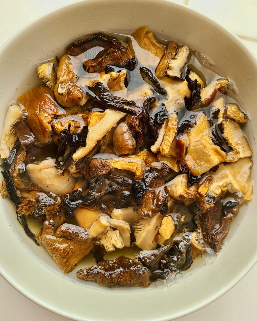 Wild mushrooms in boiling water