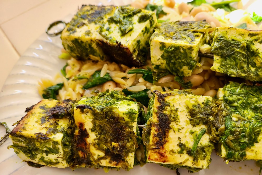 Grilled Lemon Garlic Herb Tofu Skewers with a side of Spinach Cannellini Bean Orzo