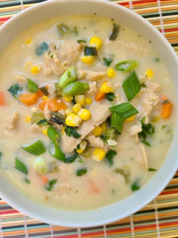 Chicken and corn soup vegan
