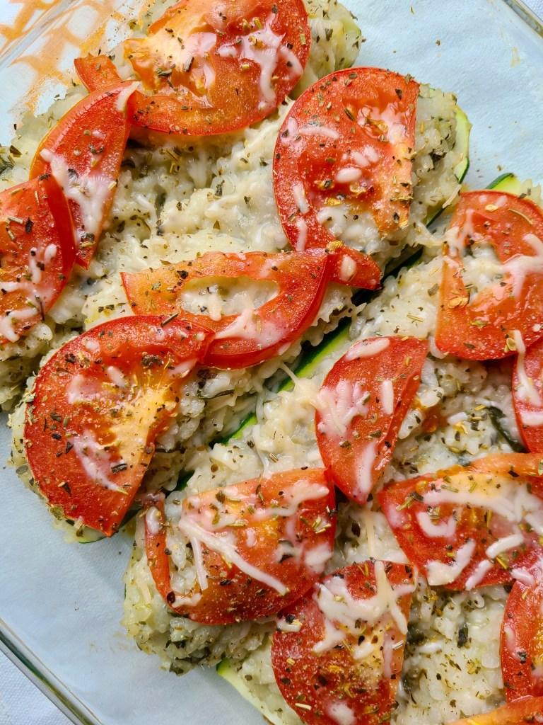 Vegan Stuffed Zucchini Boats Risotto