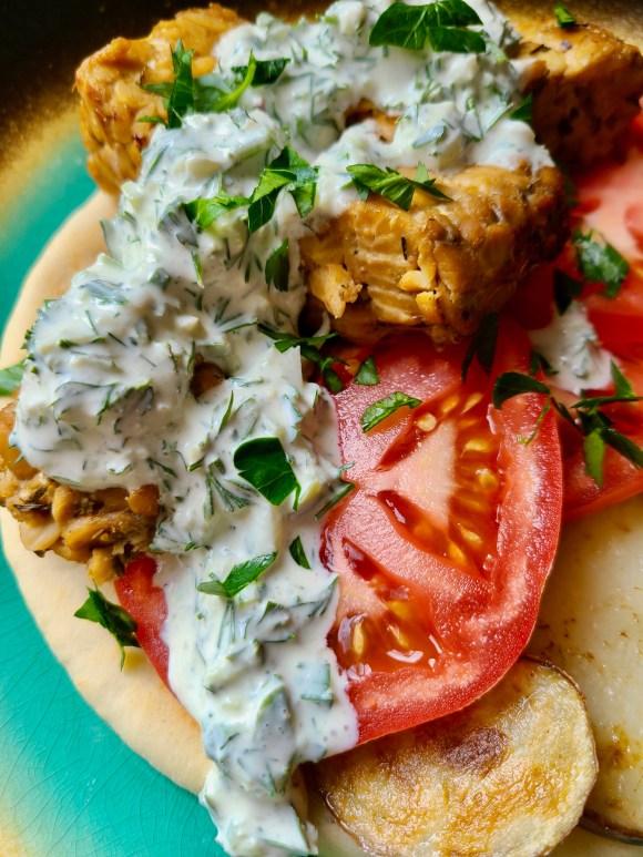 Vegan Greek Pita with Tempeh