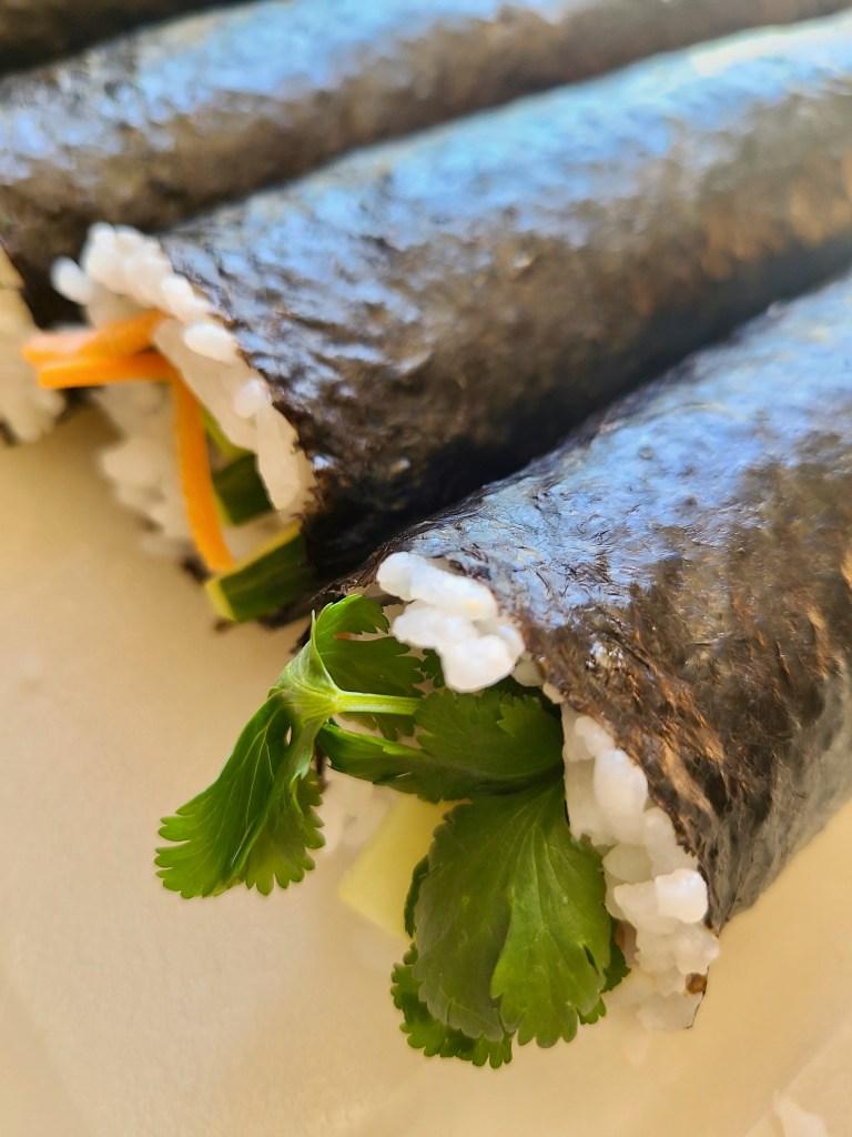 Cucumber Avocado Carrot Sushi Rolls Vegan