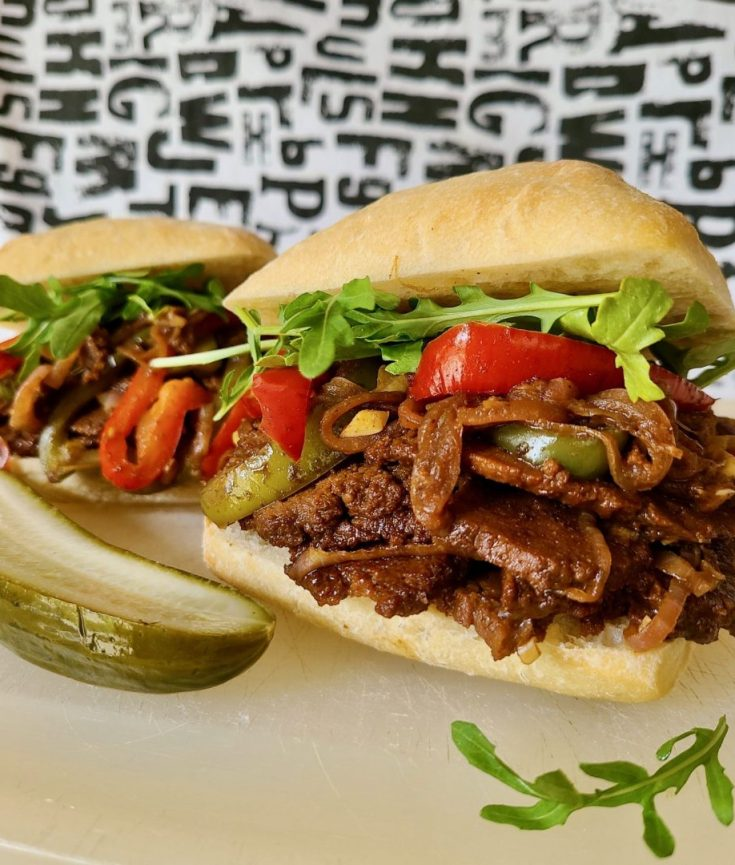 Recipe for vegan steak sandwich with peppers