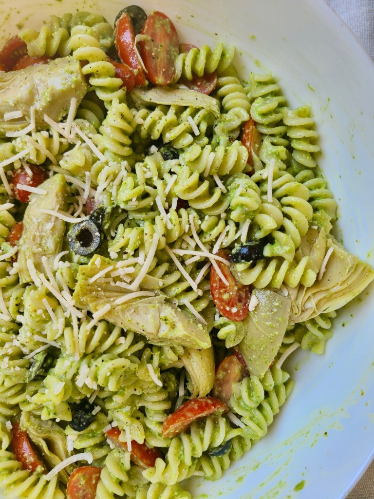 Artichoke Pasta Salad with Sunflower Basil Pesto Vegan