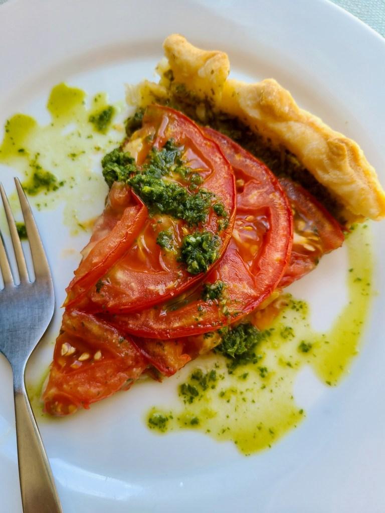 Vegan Puff Pastry Tomato Tart topped with Green Chutney