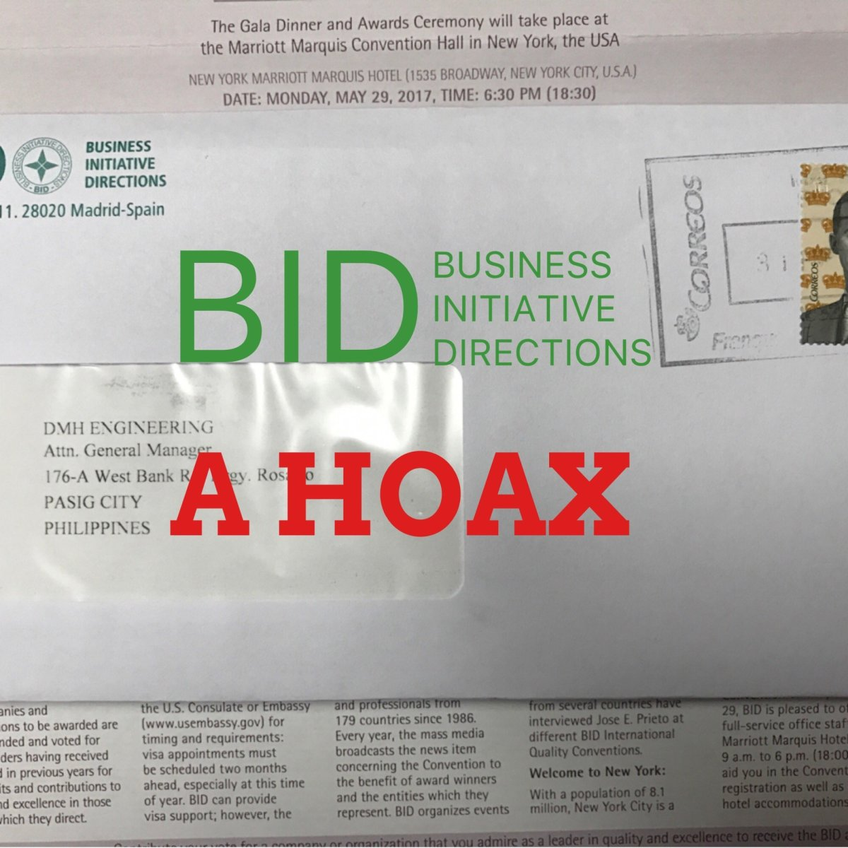 BID Awards in New York - A hoax