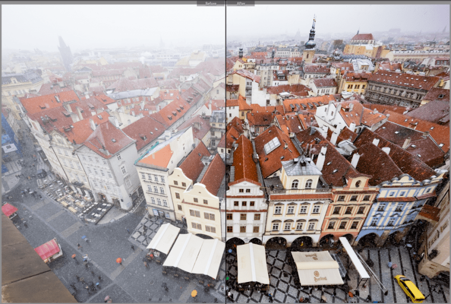 Before and after Lightroom Dehaze