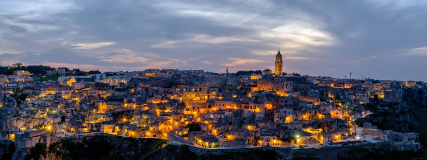 Panorama of Matera at night