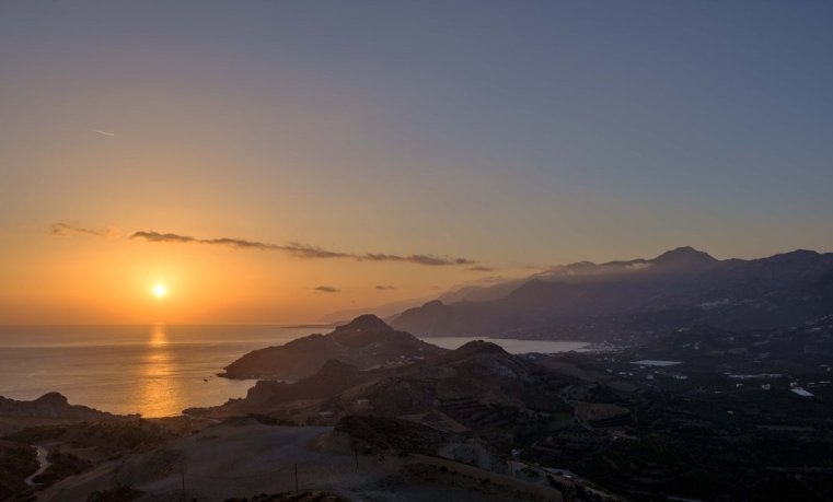 Sunset over the south coast of Crete