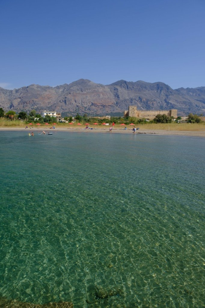 The beach and the Venetian fortress at Frangokastello