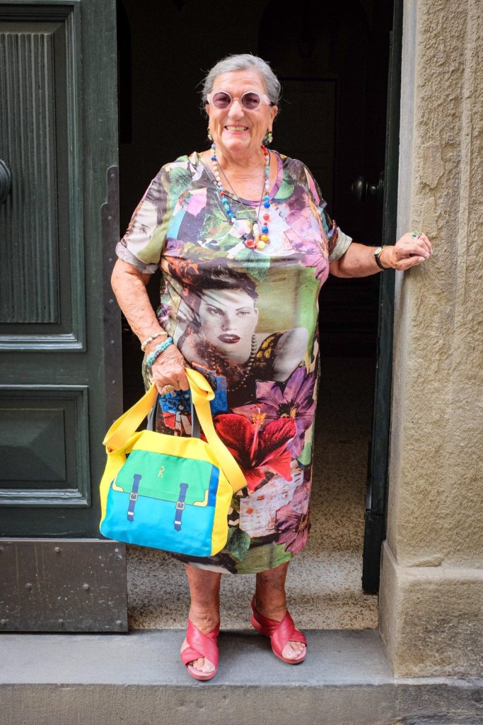A colorful lady in Lucca