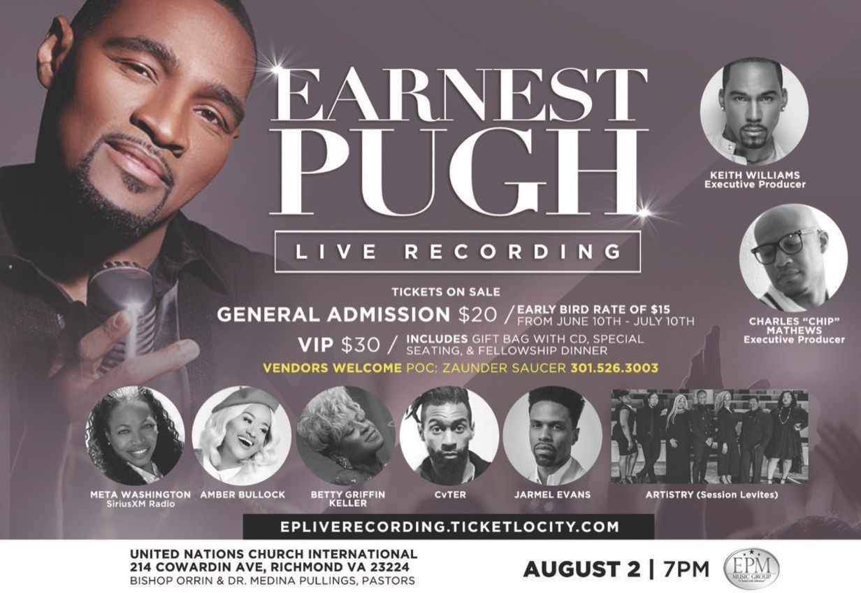 "Earnest Pugh Adds More Star-Power To ""OUTPOUR"" Live Recording Set For August 2 In Richmond, VA"