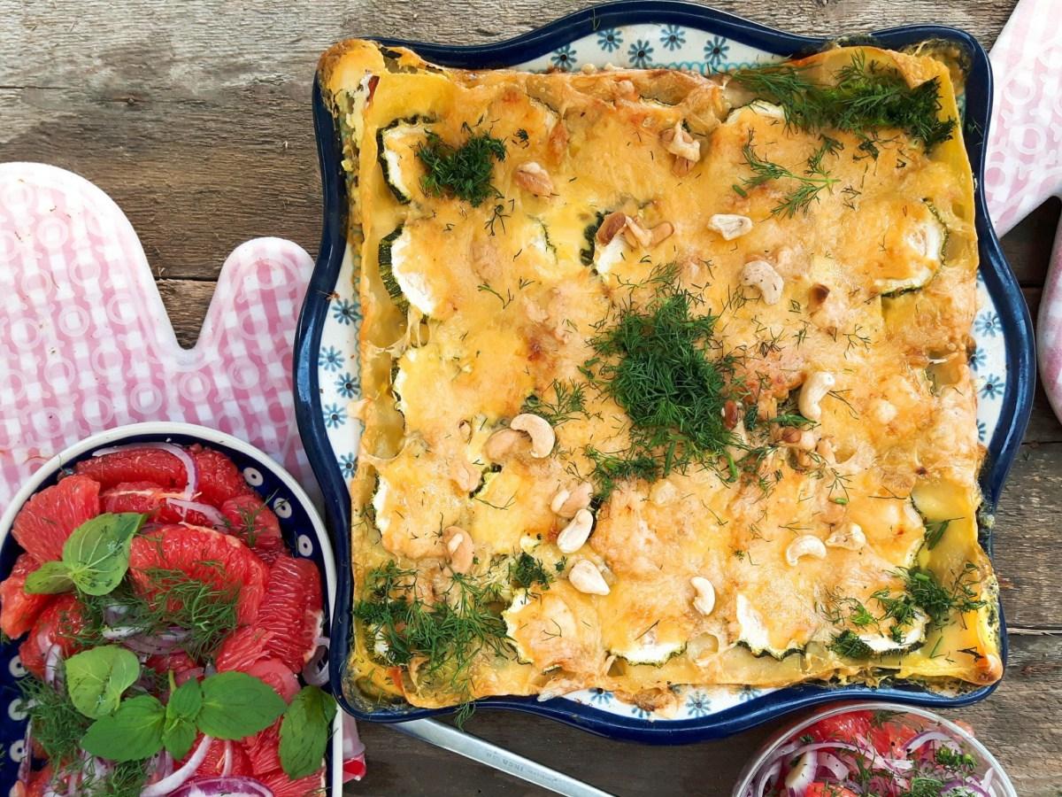 Przepis na lasagne warzywną ze szpinakiem, łososiem