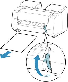Canon:Manuales de imagePROGRAF:PRO-2000:Cómo retirar hojas