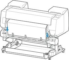 キヤノン:imagePROGRAF マニュアル:PRO-4000:巻き取り装置に設定したロールユニットに用紙をセットする