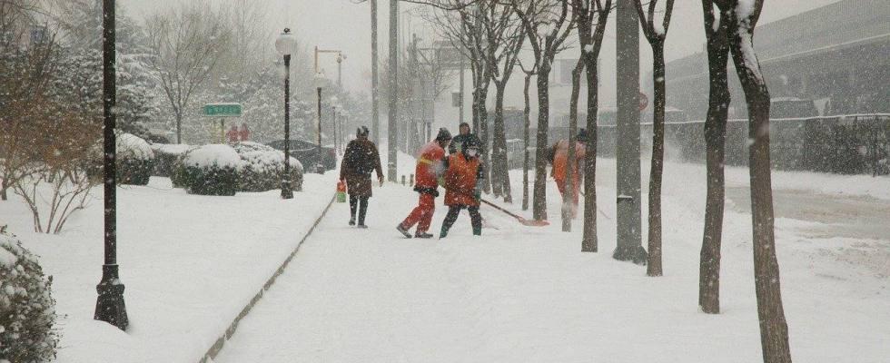 trabajadores, nevada, frío