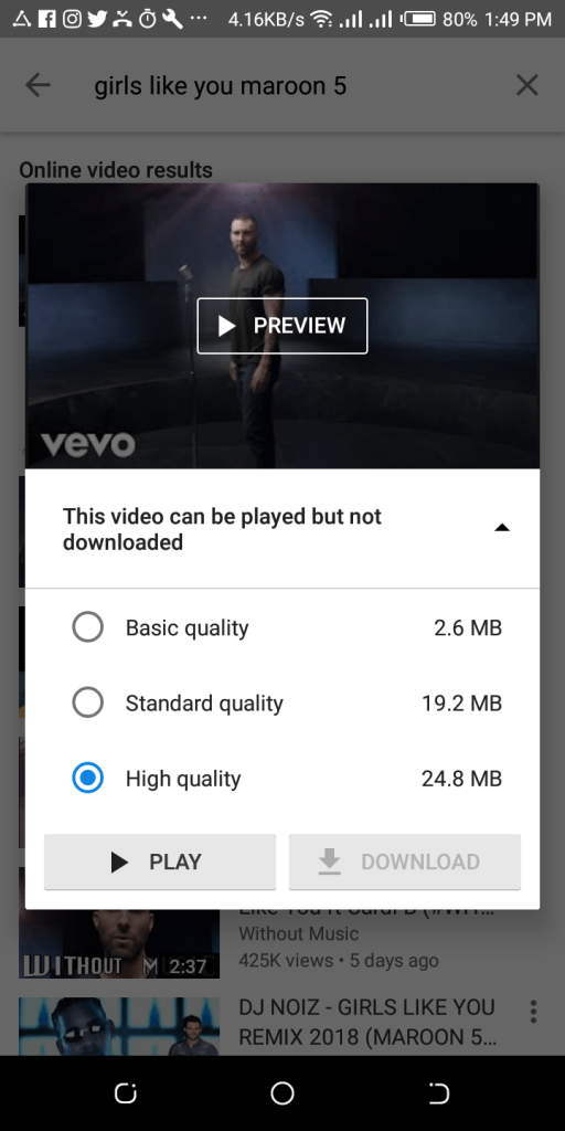 YouTube videos not available for download
