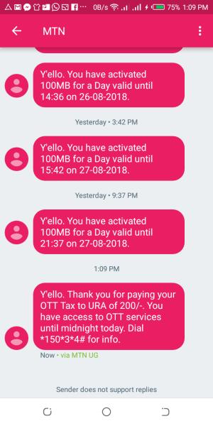 SMS notification for social media tax