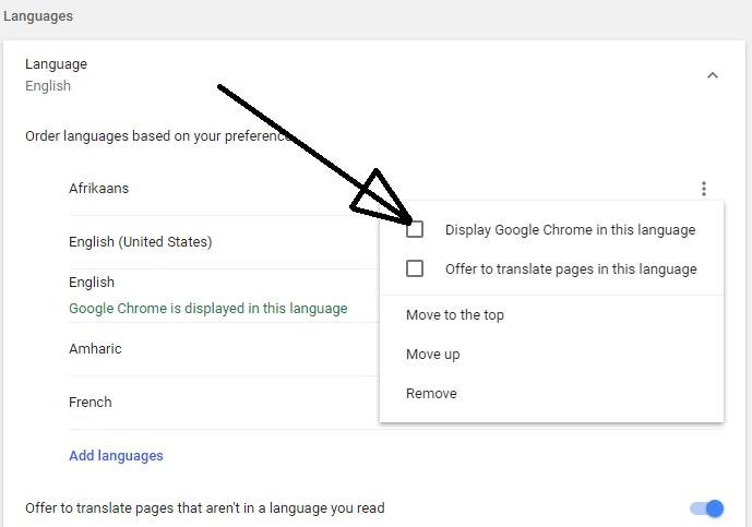 Display google chrome in this language