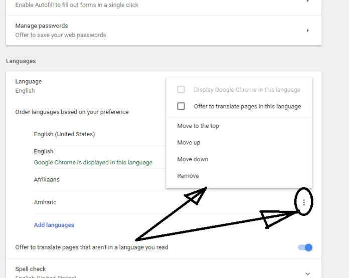 Change the language in google chrome