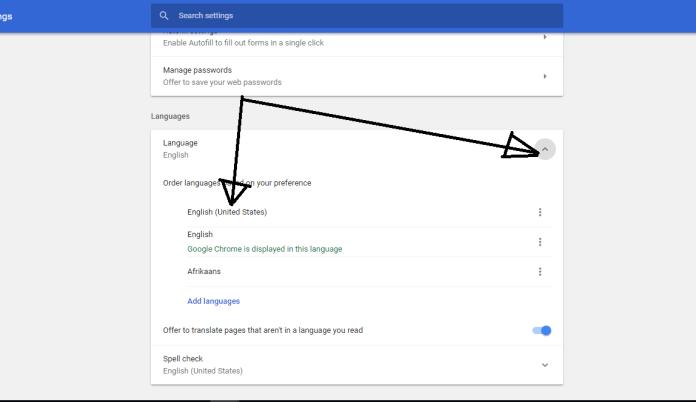 select language option under advanced