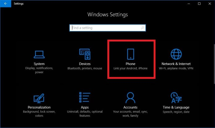 link your phone to your windows 10 computer