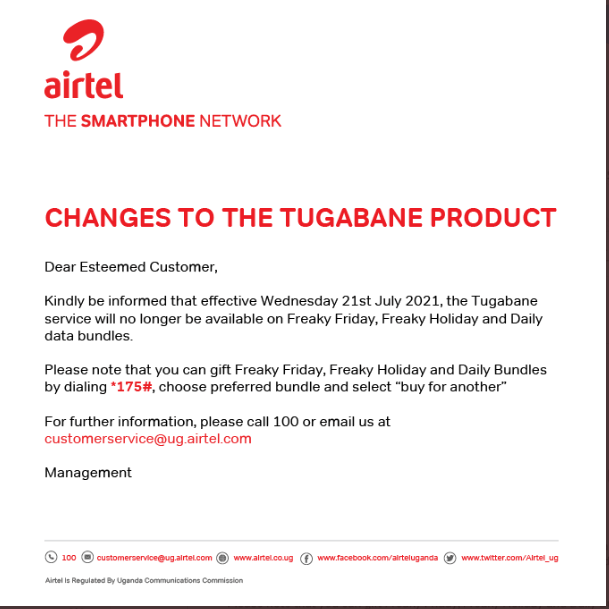 Airtel Uganda press release about the data bundles removed from Tugabane