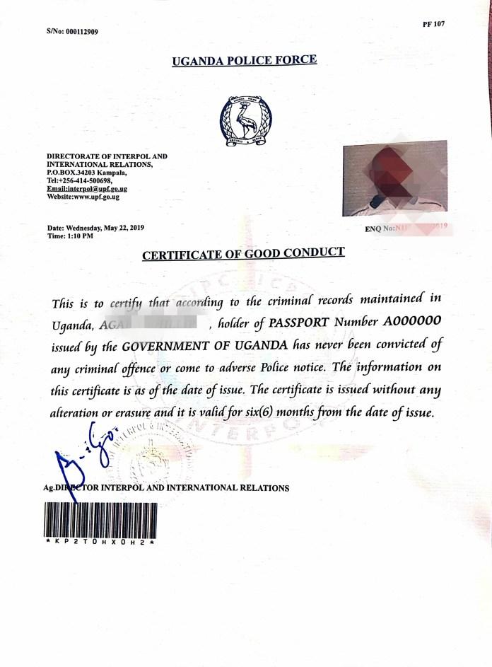 certificate of good conduct in Uganda