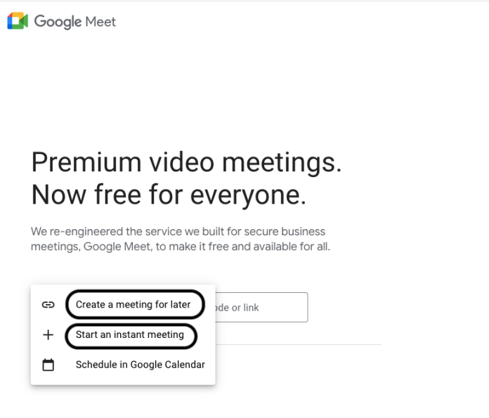 select either to start an instant Google meeting or create a meeting for later.