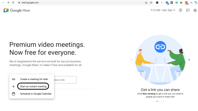 To start an instant meeting, you will need to create a new meeting and join the meeting directly.