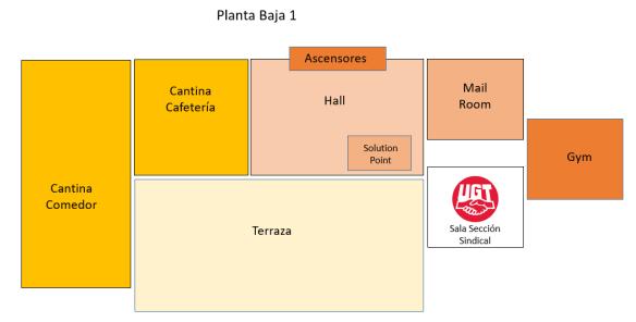 Plano Simple Castellana Norte - Planta BAJA 1 Sala UGT Sección Sindical Huawei