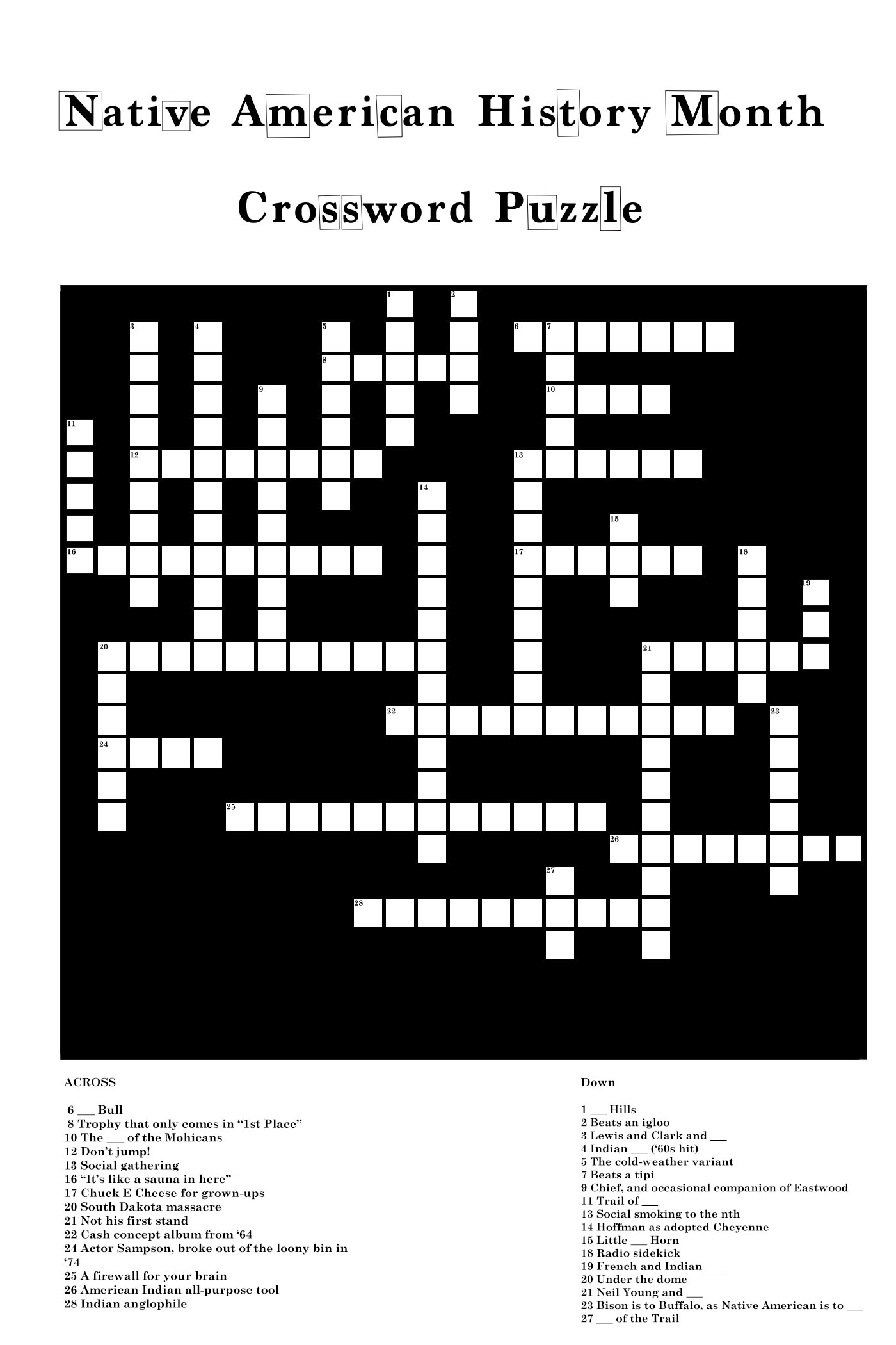 Crossword Native American History Month Uhcl The Signal