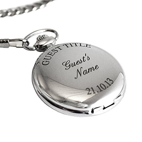 Personalisiert Silber Verzierung Taschenuhr Kette und Box