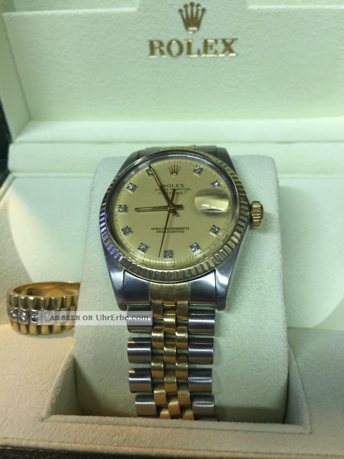 Rolex Date Just Goldstahl  Passender Ring 750 Mit Brillanten