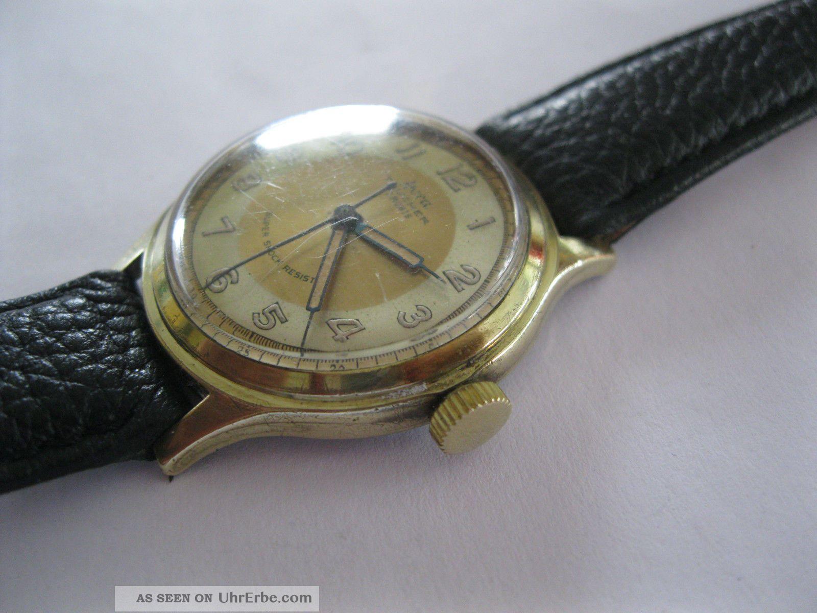 Alte Armbanduhr Hora Taucher 20 Mk Gold 17 Rubis Mech Werk Zifferblatt Goldwei