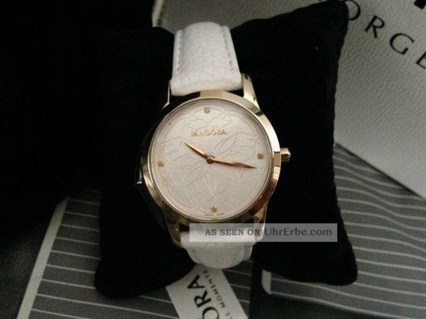 Pandora Uhr Fleur Mod. 812038ls Weiss Gold Mit Diamanten Neu