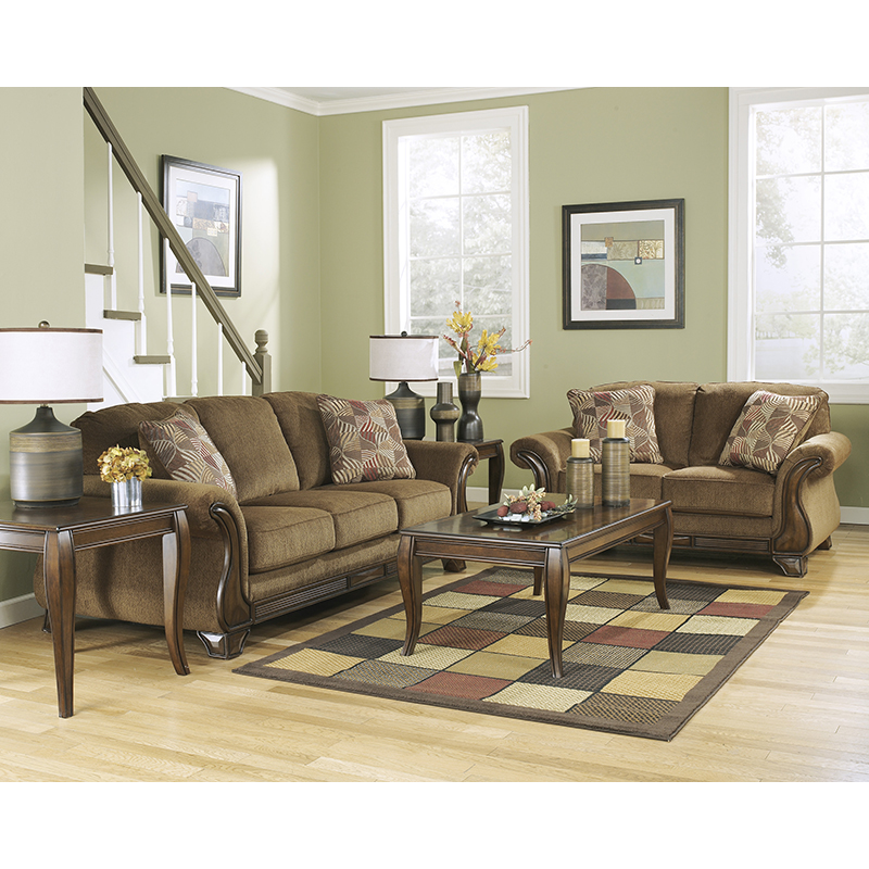 ashley furniture montgomery sofa bed and chair set 38300 mocha & loveseat