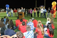 Students and dignitaries come together to dedicate the new stadium