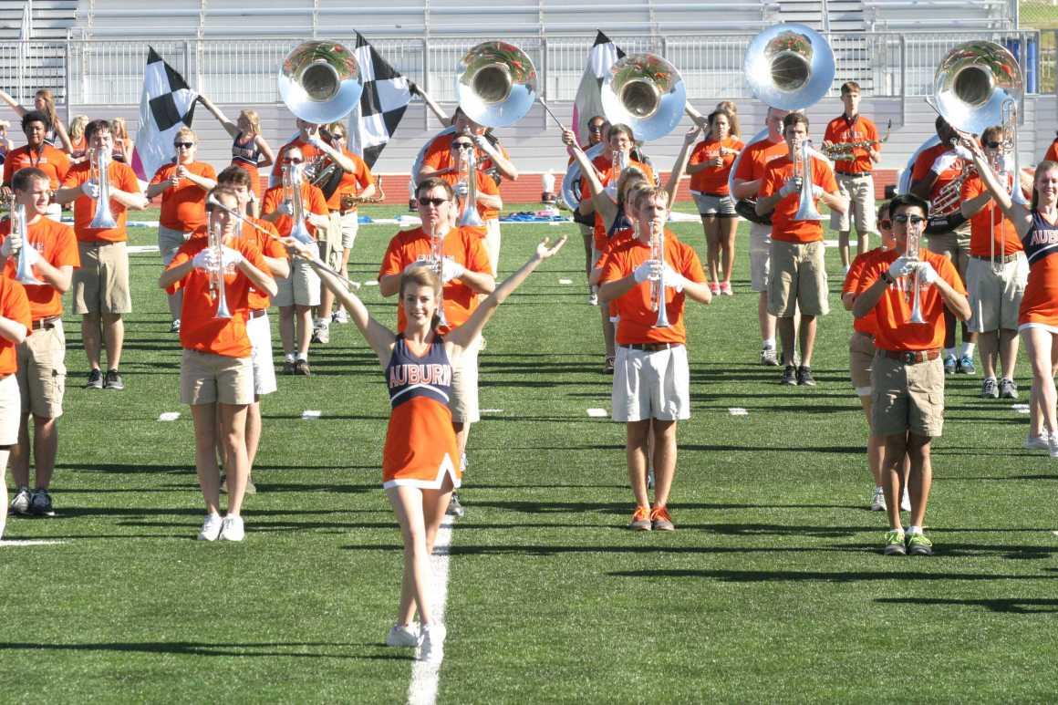 Auburn Marching Regiment practices at University High Stadium