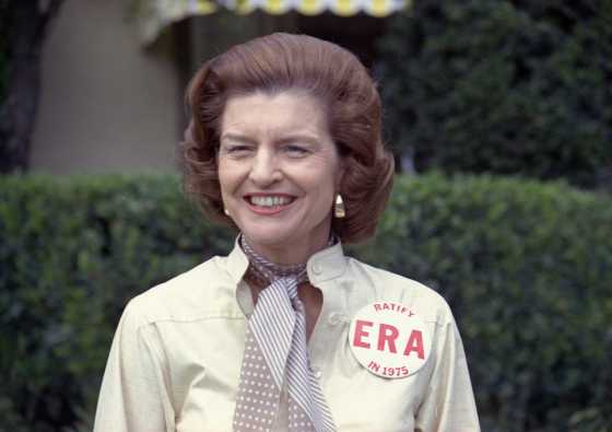 Former First lady Betty Ford sports a button expressing her support for ratification of the Equal Rights Amendment. (Gerald R. Ford Presidential Library/MCT)