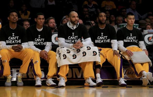 "On December 9, Lakers players wore ""I Can't Breathe"" shirts during the game against the Sacramento Kings. (Luis Sinco/Los Angeles Times/TNS)"