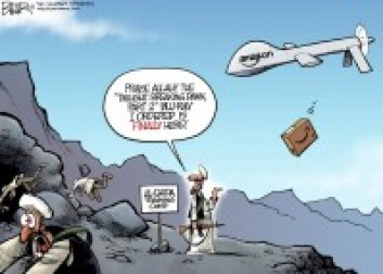 Cartoon displays the possible ironies of the potential  Amazon Prime Air program, which could deliver products via drone. (Nate Beeler/MCT)